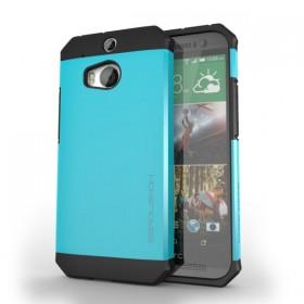 HTC One (M8) Razor Armor Dual Layer Protective Case – Metallic Blue