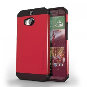 HTC One (M8) Razor Armor Dual Layer Protective Case – Sharp Red