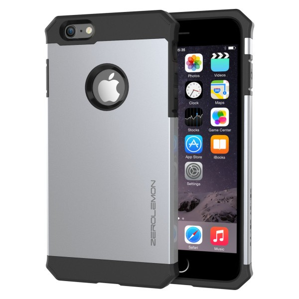 ZeroLemon iPhone 6 Plus Razor Armor Dual Layer Protective Case- Satin Silver